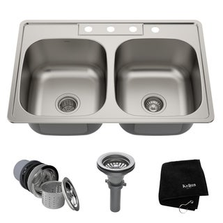 KRAUS 33-inch Topmount 50/50 Double Bowl 18 Gauge Stainless Steel Kitchen Sink with NoiseDefend Soundproofing