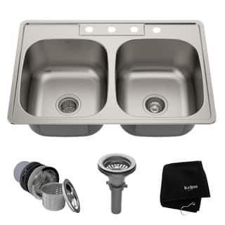 Drop in kitchen sinks for less overstock kraus 33 inch topmount 5050 double bowl 18 gauge stainless steel kitchen sink workwithnaturefo