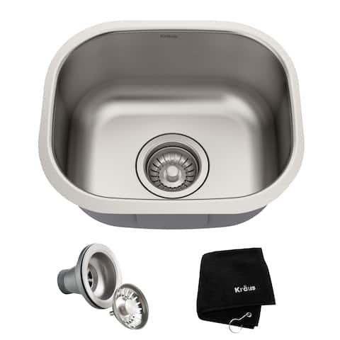 KRAUS KBU17 15-inch Undermount Single Bowl 18 Gauge Stainless Steel Bar Sink with NoiseDefend Soundproofing