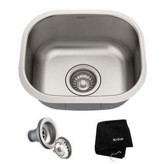 KRAUS KBU17 15-inch Undermount Single Bowl 18 Gauge Stainless Steel Bar Sink with NoiseDefend Soundproofing