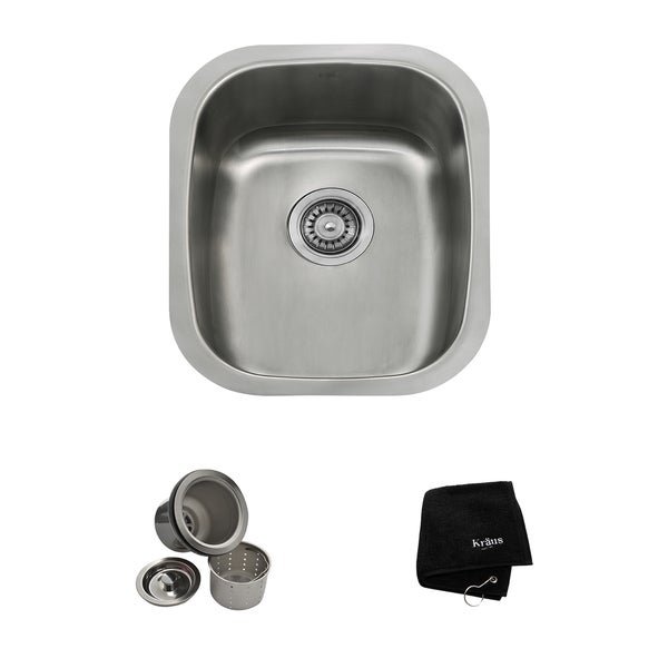 Kraus 15 Inch Undermount Single Bowl 18 Gauge Stainless Steel Bar Sink With Noisedefend Soundproofing