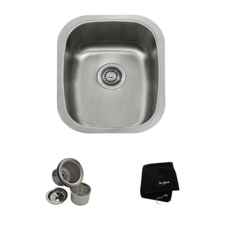 KRAUS 15-inch Undermount Single Bowl 18 Gauge Stainless Steel Bar Sink with NoiseDefend Soundproofing