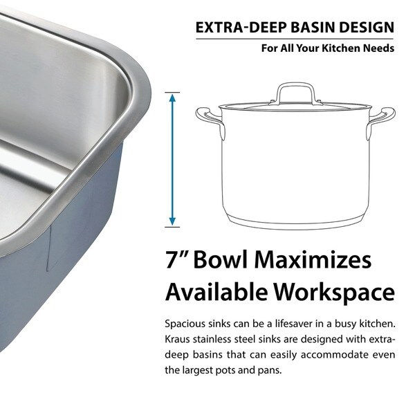kraus 15inch undermount single bowl 18 gauge stainless steel bar sink with noisedefend free shipping today - Kraus Sinks