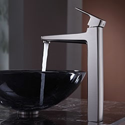KRAUS Glass Vessel Sink in Black with Virtus Faucet in Brushed Nickel