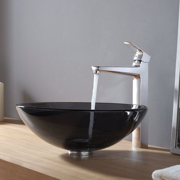 KRAUS Glass Vessel Sink in Black with Virtus Faucet in Chrome
