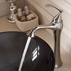 KRAUS Glass Vessel Sink in Black with Ventus Faucet in Brushed Nickel - Thumbnail 1