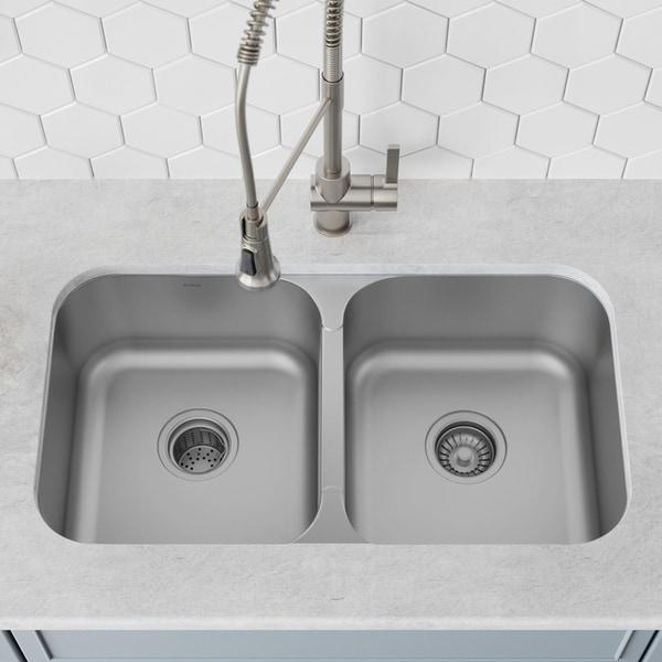 Kraus KBU29 Undermount 32 inch 2-Bowl Stainless Steel Kitchen Sink