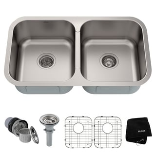 KRAUS 32 Inch Undermount 50/50 Double Bowl 18 Gauge Stainless Steel Kitchen Sink with NoiseDefend Soundproofing