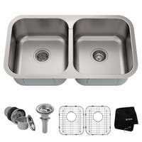 Kraus KBU29 Premier Undermount 32-in 18G 50/50 2-Bowl Satin Stainless Steel Kitchen Sink, Grids, Strainers, Towel