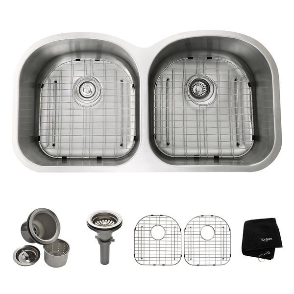 KRAUS 39 Inch Undermount 50/50 Double Bowl 16 Gauge Stainless Steel Kitchen Sink with NoiseDefend Soundproofing
