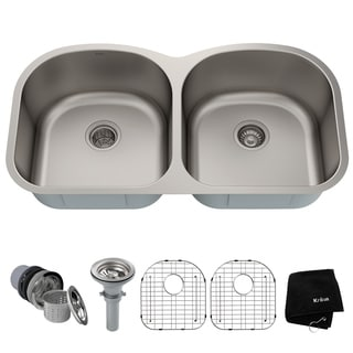 KRAUS 39-inch Undermount 50/50 Double Bowl 16 Gauge Stainless Steel Kitchen Sink with NoiseDefend Soundproofing