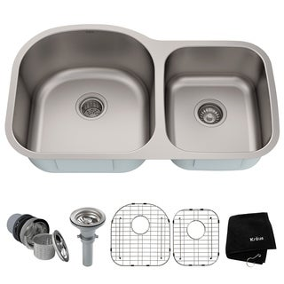 KRAUS 35 Inch Undermount 60/40 Double Bowl 16 Gauge Stainless Steel Kitchen Sink with NoiseDefend Soundproofing