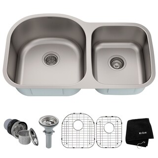 KRAUS 35-inch Undermount 60/40 Double Bowl 16 Gauge Stainless Steel Kitchen Sink with NoiseDefend Soundproofing|https://ak1.ostkcdn.com/images/products/6472926/P14067948.jpg?_ostk_perf_=percv&impolicy=medium