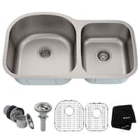 KRAUS 35-inch Undermount 60/40 Double Bowl 16 Gauge Stainless Steel Kitchen Sink with NoiseDefend Soundproofing