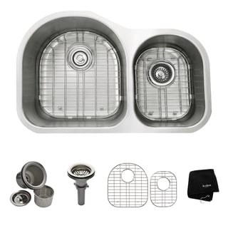 KRAUS 31-inch Undermount 60/40 Double Bowl 16 Gauge Stainless Steel Kitchen Sink with NoiseDefend Soundproofing