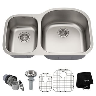 Kraus KBU25 Undermount 32 inch 2-Bowl Stainless Steel Kitchen Sink
