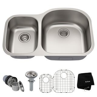KRAUS 32-inch Undermount 60/40 Double Bowl 16 Gauge Stainless Steel Kitchen Sink with NoiseDefend Soundproofing