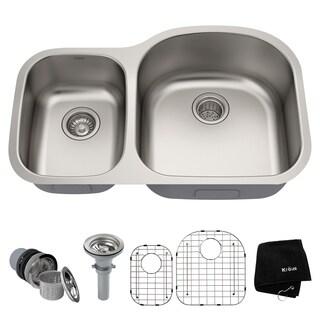 KRAUS 32 Inch Undermount 60/40 Double Bowl 16 Gauge Stainless Steel Kitchen  Sink