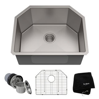 KRAUS 23-inch Undermount Single Bowl 16 Gauge Stainless Steel Kitchen Sink with NoiseDefend Soundproofing