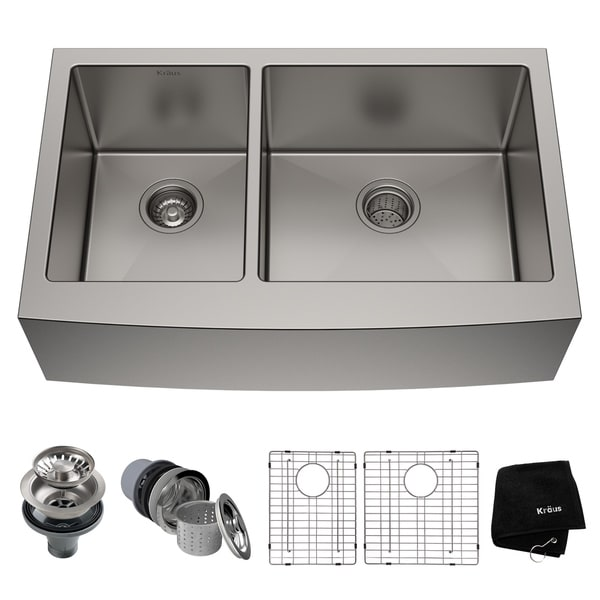 Kraus KHF204-33 Farmhouse Apron Front 33-in 16G 40/60 2-Bowl Satin Stainless Steel Kitchen Sink, Grids, Strainers, Towel