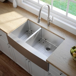 KRAUS 33 Inch 60/40 Double Bowl 16 Gauge Stainless Steel Farmhouse Kitchen Sink with NoiseDefend Soundproofing