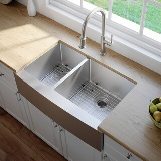 KRAUS 33-inch 60/40 Double Bowl 16 Gauge Stainless Steel Farmhouse Kitchen Sink with NoiseDefend Soundproofing