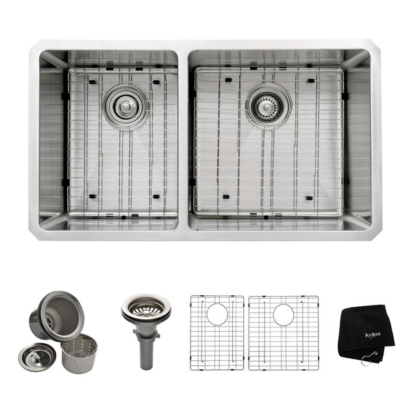 KRAUS 33-inch Undermount 60/40 Double Bowl 16 Gauge Stainless Steel Kitchen Sink with NoiseDefend Soundproofing