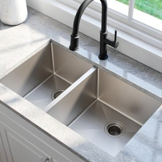 KRAUS 33 Inch Undermount 60/40 Double Bowl 16 Gauge Stainless Steel Kitchen Sink with NoiseDefend Soundproofing