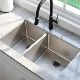 Kraus 33 -inch Undermount 60/40 Double Bowl Steel Kitchen Sink