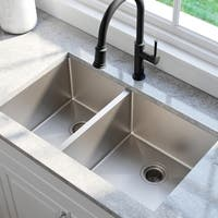 KRAUS Standart PRO™ 33-inch 16 Gauge Undermount 60/40 Double Bowl Stainless Steel Kitchen Sink