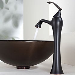 KRAUS Frosted Glass Vessel Sink in Brown with Ventus Faucet in Oil Rubbed Bronze