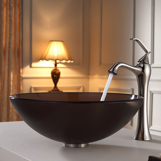 KRAUS Frosted Glass Vessel Sink in Brown with Ventus Faucet in Brushed Nickel