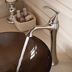 KRAUS Frosted Glass Vessel Sink in Brown with Ventus Faucet in Brushed Nickel - Thumbnail 1