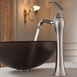 KRAUS Frosted Glass Vessel Sink in Brown with Ventus Faucet in Brushed Nickel - Thumbnail 2