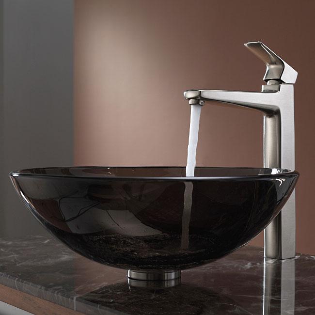 KRAUS Glass Vessel Sink in Brown with Virtus Faucet in Brushed Nickel