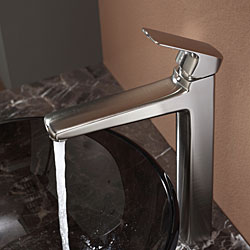 KRAUS Glass Vessel Sink in Brown with Virtus Faucet in Brushed Nickel - Thumbnail 1