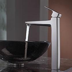 KRAUS Glass Vessel Sink in Brown with Virtus Faucet in Brushed Nickel - Thumbnail 2
