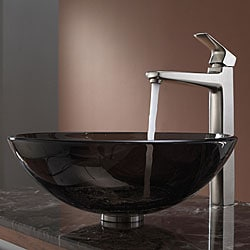 KRAUS Glass Vessel Sink in Brown with Virtus Faucet in Brushed Nickel