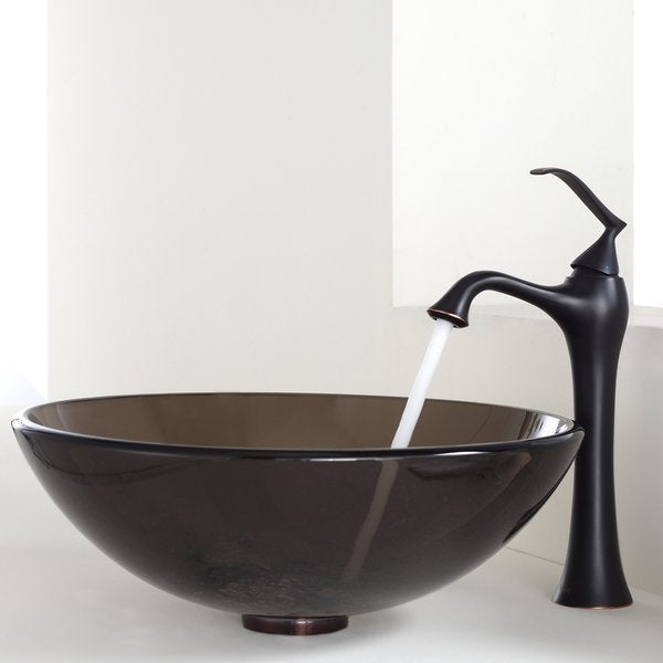KRAUS Glass Vessel Sink in Brown with Ventus Faucet in Oil Rubbed Bronze