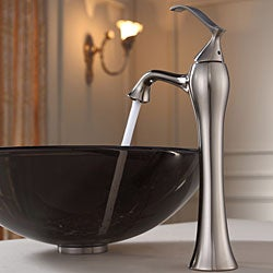 KRAUS Glass Vessel Sink in Brown with Ventus Faucet in Brushed Nickel