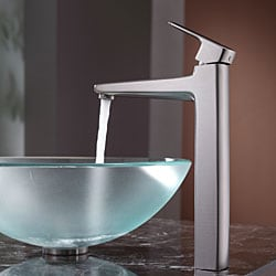KRAUS Frosted Glass Vessel Sink in Clear with Virtus Faucet in Brushed Nickel