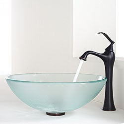 KRAUS Frosted Glass Vessel Sink in Clear with Ventus Faucet in Oil Rubbed Bronze