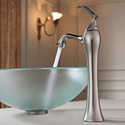 KRAUS Frosted Glass Vessel Sink in Clear with Ventus Faucet in Brushed Nickel