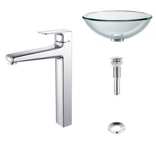 Kraus Clear 19mm thick Glass Vessel Sink and Virtus Faucet Chrome