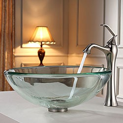 KRAUS 19 mm Thick Glass Vessel Sink with Ventus Faucet in Brushed Nickel