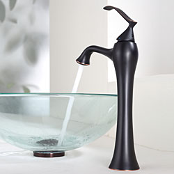 KRAUS Glass Vessel Sink with Ventus Faucet in Oil Rubbed Bronze