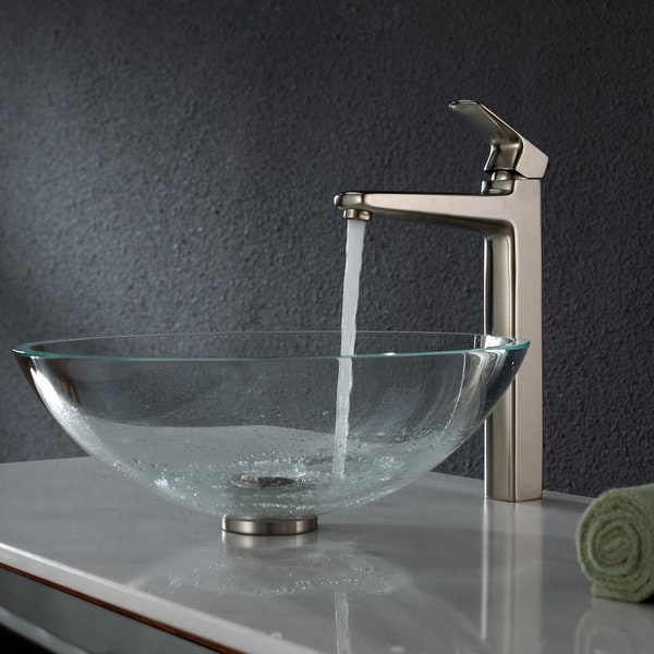 KRAUS Glass Vessel Sink in Crystal Clear with Virtus Faucet in Brushed Nickel