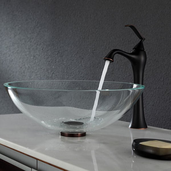 KRAUS Glass Vessel Sink in Crystal Clear with Ventus Faucet in Oil Rubbed Bronze