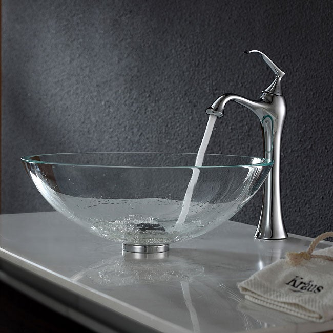 KRAUS Glass Vessel Sink in Crystal Clear with Ventus Faucet in Chrome