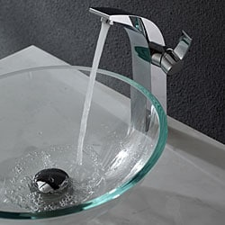 KRAUS Glass Vessel Sink in Crystal Clear with Illusio Faucet in Chrome